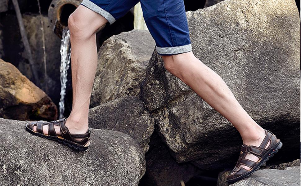 JIONS Mens Closed Toe Leather Sandals, Men's Summer Outdoor Fisherman Walking Adjustable Velcr
