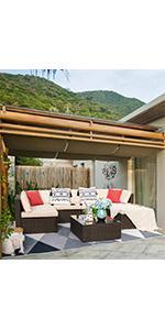 7 pieces patio sofa
