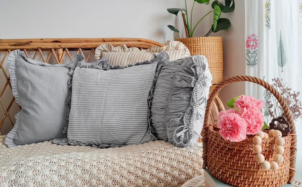 grey stripe nautical sailor stripe cotton cushion covers set fo 3