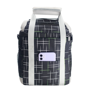 Insulated lunch bags back pocket can store mobile phone