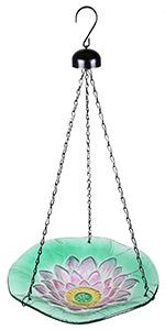 Hanging Bird Baths for Outdoors - Glass Bird Bath Bowl Outdoor Bird Feeder