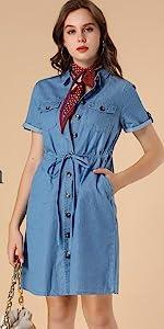 Drawstring Waist Casual Denim Shirt Dress