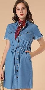 B08V1QZ742 Denim Shirt Dress