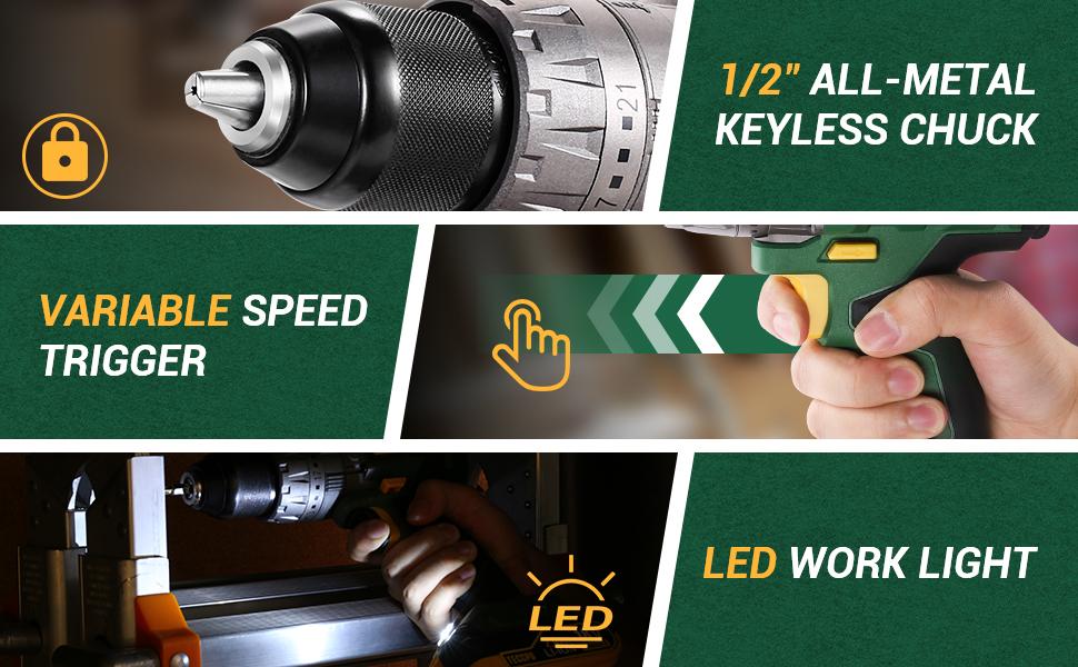 LED light & Variable speed
