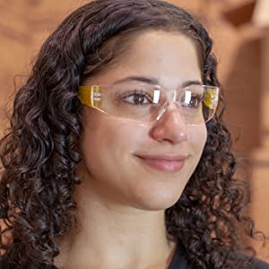 Safe Handler Clear Lens Yellow Color temple Safety Glasses