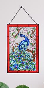 Peacock Art Glass Window Decor