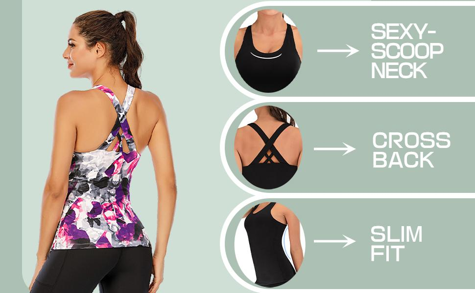 yoga tops with built in bra