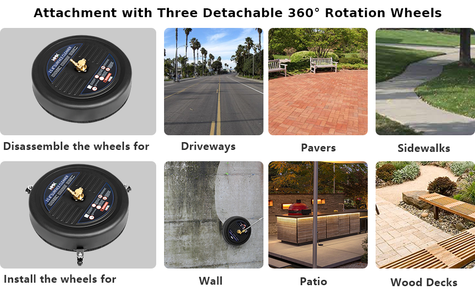 attachment with three detachable 360 rotation wheels