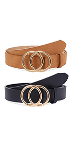 2 Pack Double O-Ring Womens Belt