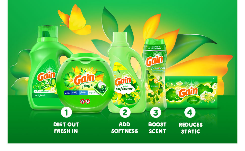 1 Dirt out fresh in 2 Add softness 3 Boost scent 4 Reduce static