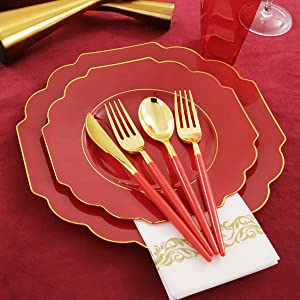 Silverware and red plastic plates display