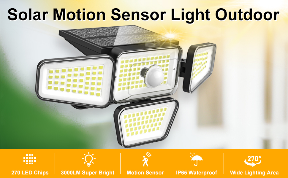 solar powered flood lights outdoor with motion detector