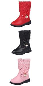 Girls Cute Bowknot Beads Side Zipper Mid Calf High Boots Princess Winter Warm Shoes