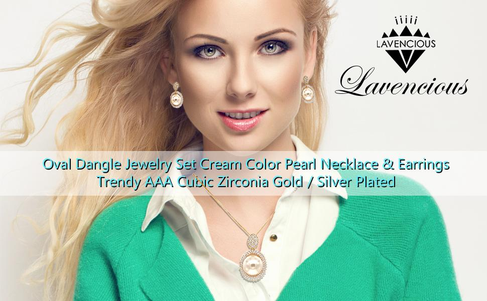 Oval Dangle Jewelry Set Cream Color Pearl Necklace amp; Earrings Trendy AAA Cubic Zirconia