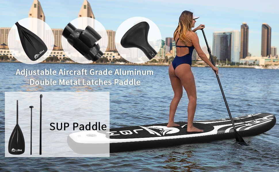 LBW SUP Paddle Board Paddle - 3 Pieces - Stand up Paddle Adjustable Floating Portable Lightweight