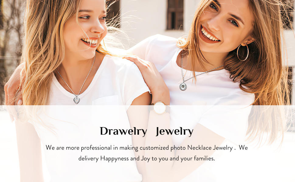 Drawelry sliver customize photo necklace pendant personalized pictuter memory