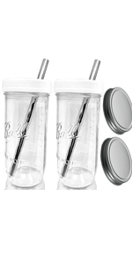 24 oz Boba Drinking Jars with Plastic Lids and Stainless Steel Storage Lids