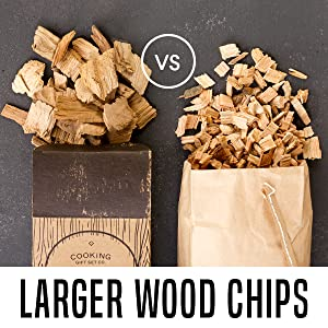 comparing whole hickory wood chips to smaller chips