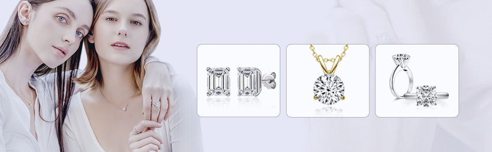 CZ earring necklace ring