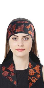 Halloween Headband Costume Headpiece for Women Rhinestones Headwear, Rhinestone Edge Scarf Fashion