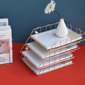 stackable horizontal letter tray paper holder rack gold desk tray metal file organizer tray