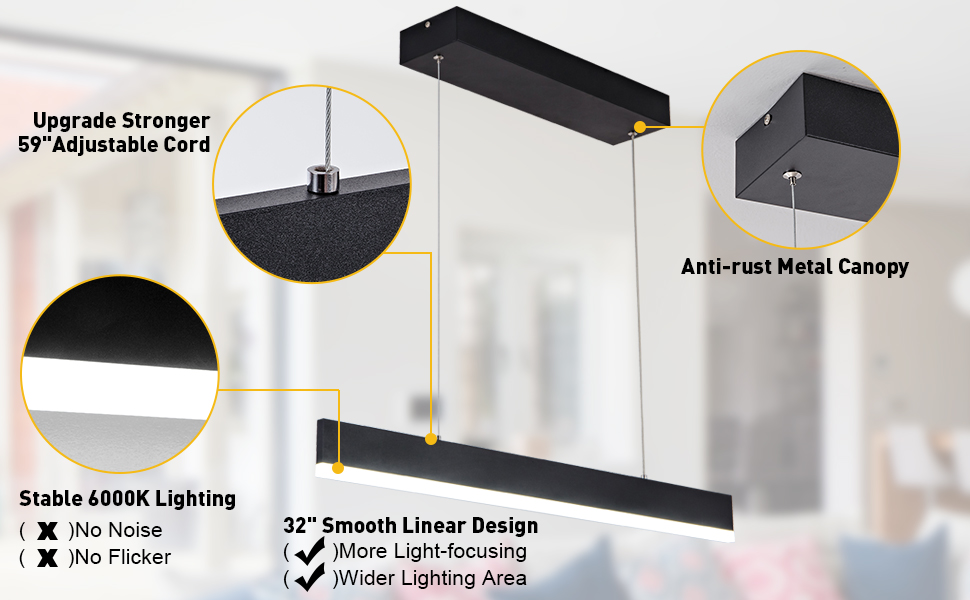 Anti-rust canopy, 59in adjustable cord,stable lighting