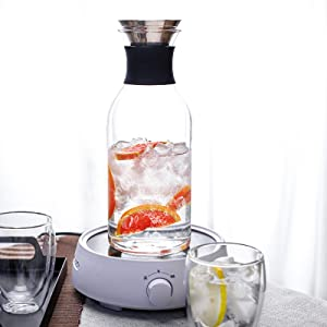 33 OZ Glass Carafe with Stainless Steel Lid Borosilicate Water Carafe Jug Beverage Pitcher