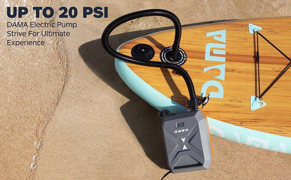sup electric pump, electric air pump, 20psi sup electric air pump, paddle board pump