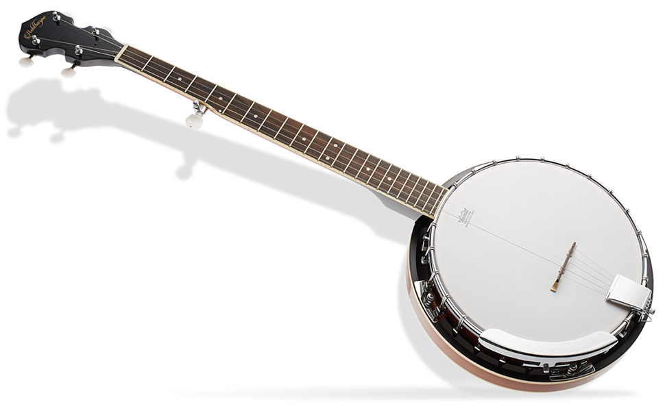 Ashthorpe five string banjo, white remo head, mahogany neck and body, geared fifth tuner