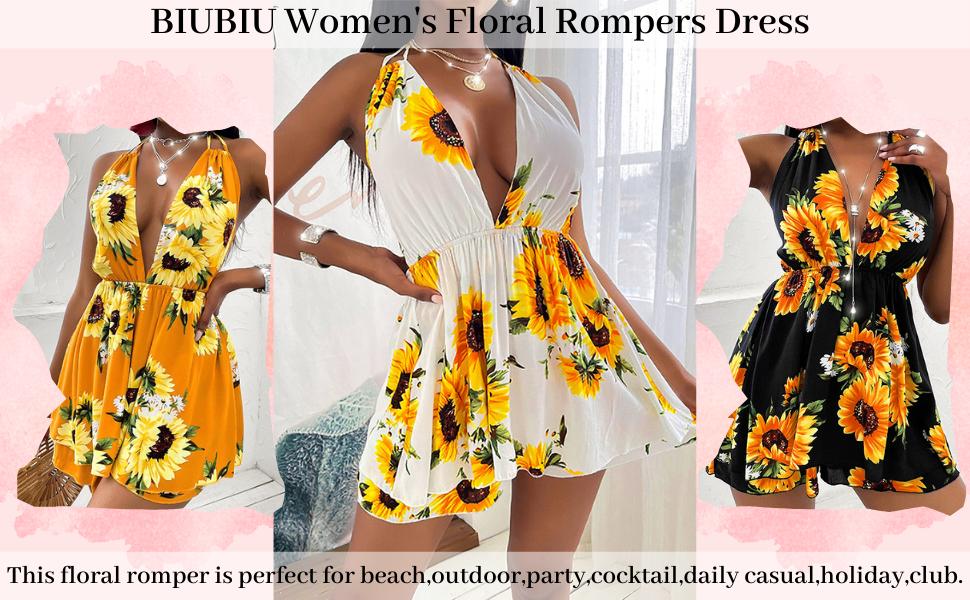 BIUBIU Women's Floral Rompers Dress