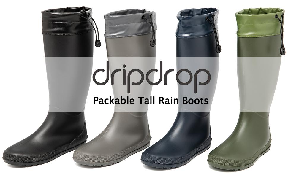 dripdrop packable tall rain boots