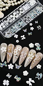 1 Box White Flower AB Color Butterfly Acrylic Nail Accessories