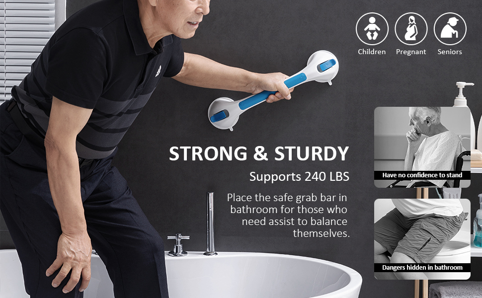 Vacuum suction shower grab bar,no drilling,no damage to the wall,removable
