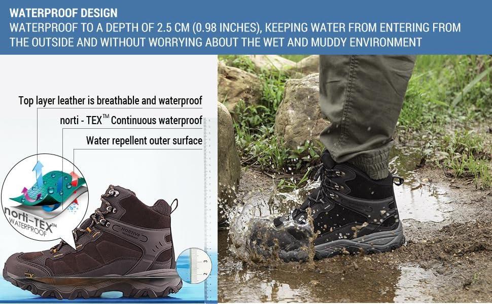 NORTIV 8 Men's Waterproof Hiking Boots Outdoor Mid Trekking Backpacking Mountaineering Shoes