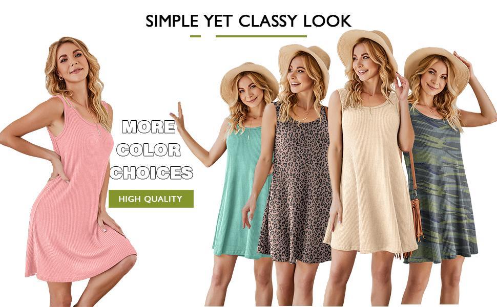 IWOLLENCE Women Summer Casual T Shirt Dresses Beach Cover ups Waffle Knit Tank Dress