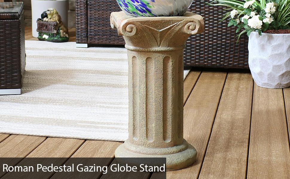 Sunnydaze Roman Pedestal Gazing Globe Stand - Autumn Leaf