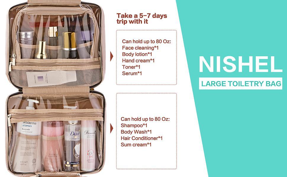 NISHEL Large Hanging Travel Toiletry Bag