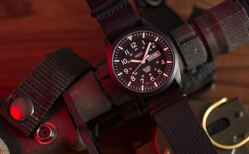 Men's Wrist Watch Field Military Analog Black Tactical Outdoor Work Waterproof Date Day 12/24 Hour