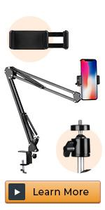 Overhead Video Stand Articulating Arm Flexible Cell Phone Holder Stand Arm for Desk