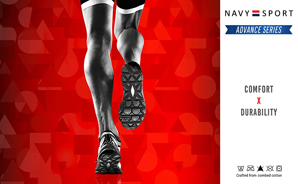 NAVYSPORT Sports Ankle. and Crew Socks for Men for Running, Gym & Training