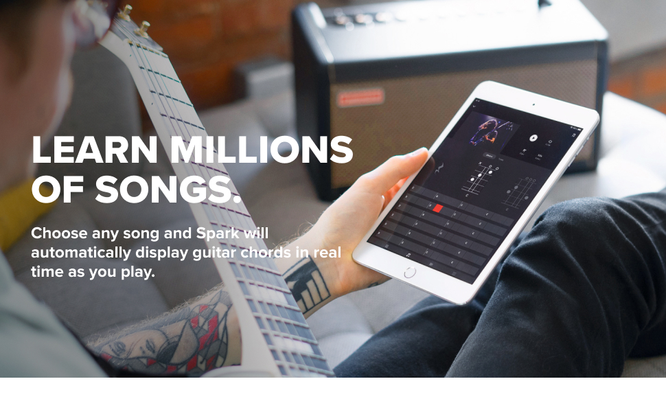 Choose any song and Spark will automatically display guitar chords in real time as you play.