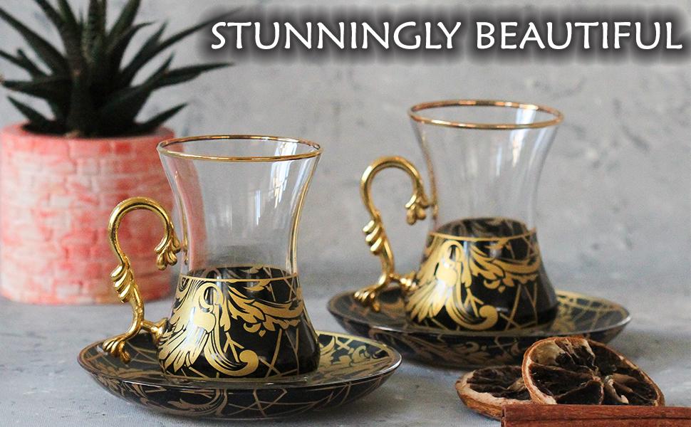 turkish tea cups glasses set