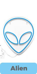 alien game room sign blue