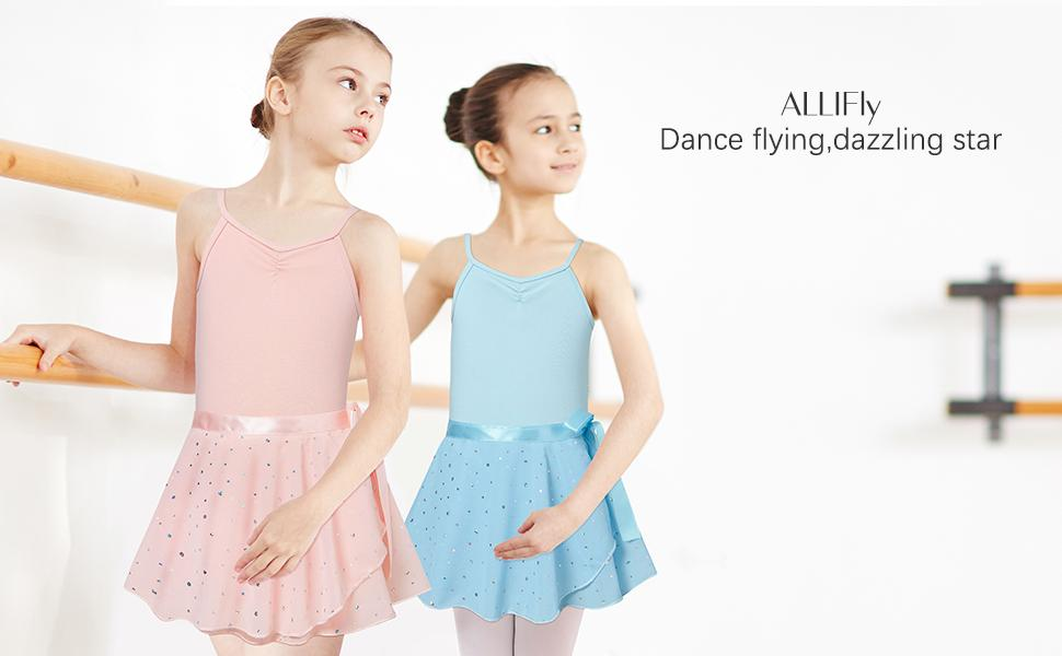 Girls Ballet Dance Dress Camisole Leotards with Shiny Tutu Skirt Ballerina Outfits ballet clothes