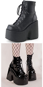 gothic platform boots black boots lace-up boots ankl eboots