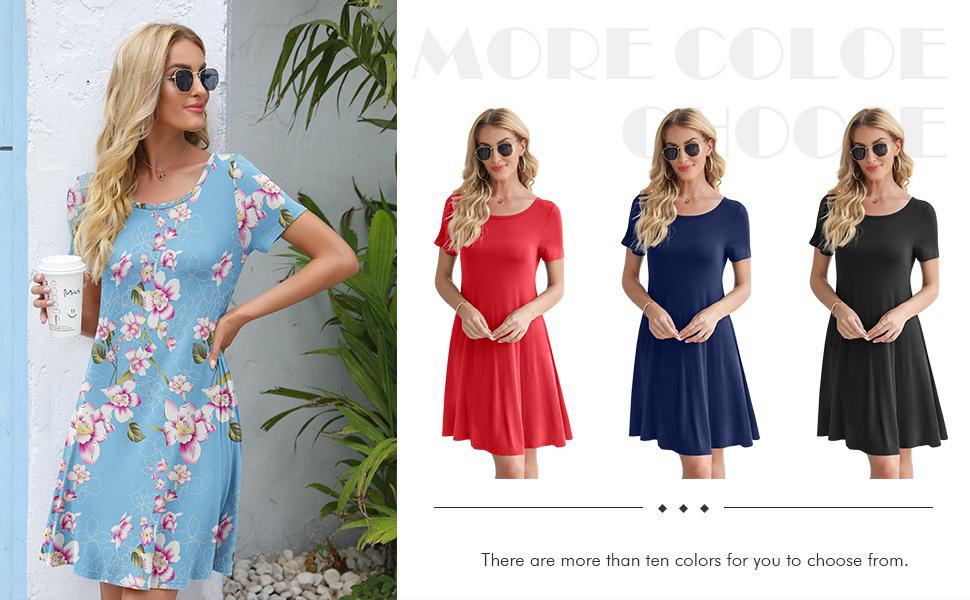 DUSDIMON Women's Summer Casual Dresses Short Sleeve Tshirt Dress