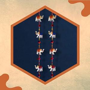 DreamKraft Paper Mache Elephant Full Door Hangings (1.6 M, 20 Elephant) - Set of 2 SPN-FOR1