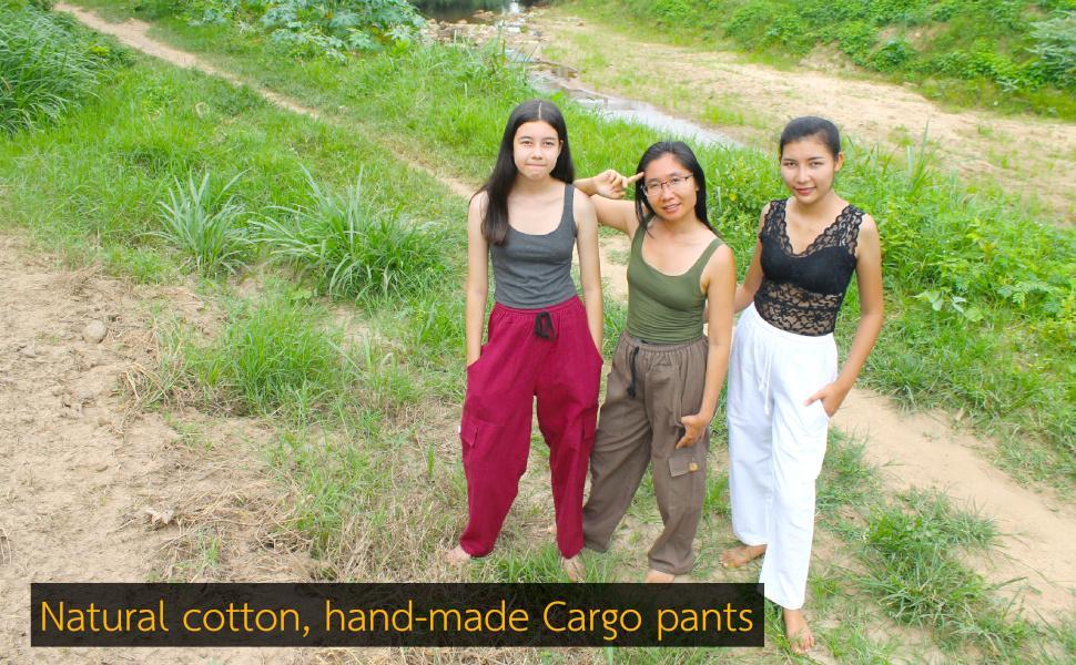 Thick Cotton Khaki Cargo Pants