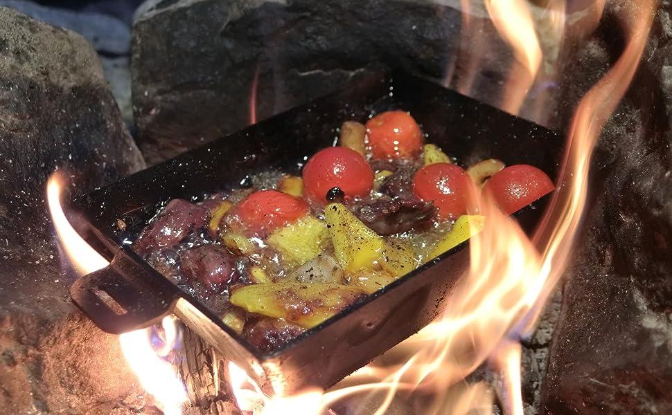 深皿ソロ鉄板,焚き火