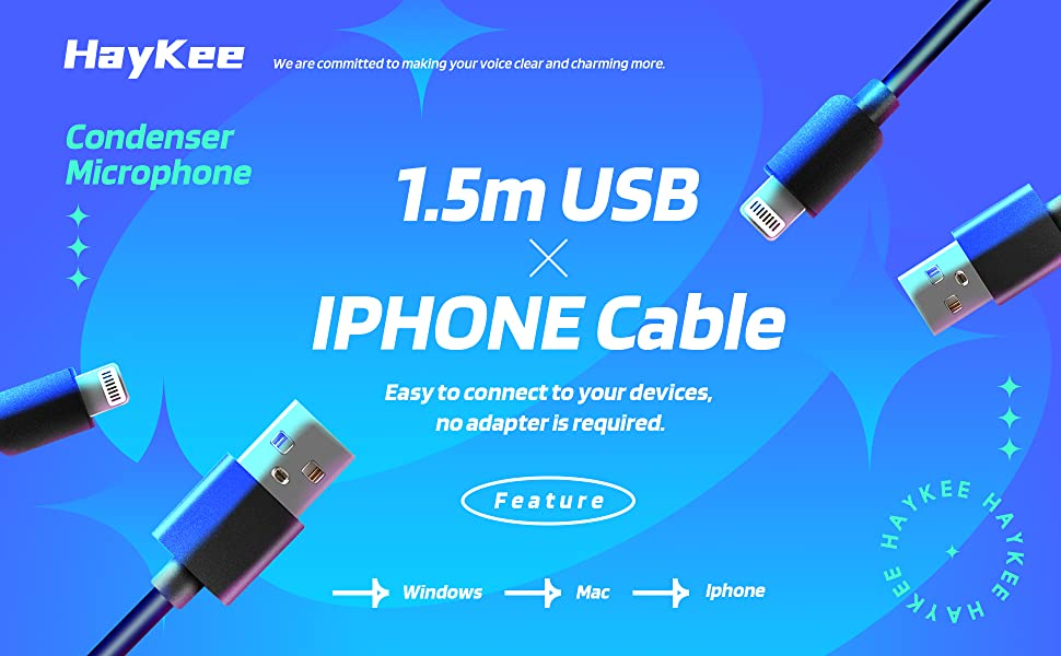 1.5m USB & IPHONE Cable. Easy to connect to your devices, no adapter is required.